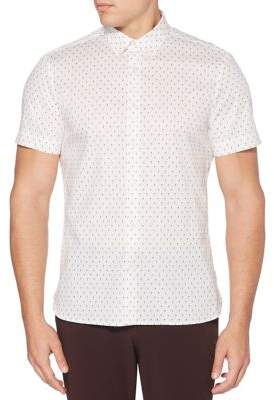 Perry Ellis Short-Sleeve Mini Print Button-Down Shirt