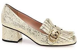 Gucci Women's Marmont GG Crinkle Metallic Leather Block Heel Pumps
