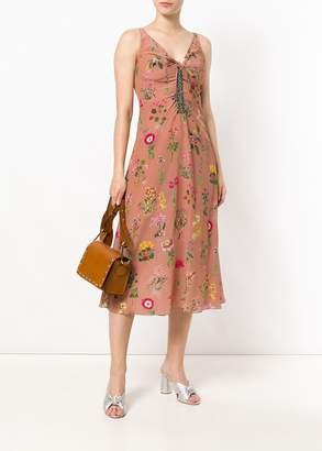 Nili Lotan No. 21 v-neck sleeveless midi dress in floral print (4)