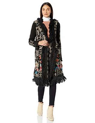 Johnny Was Biya by Women's Embroidered Long Hooded Sweater with Fringe Detail