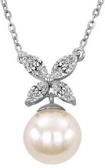 Majorica 8MM White Pearl, Cubic Zirconia and Sterling Silver Butterfly Necklace