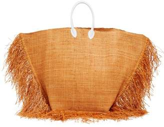 Jacquemus Baci Leather Handle Woven Raffia Tote Bag - Womens - Orange Multi