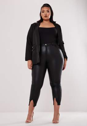 Missguided Plus Size Black High Waisted Split Front Coated Jeans