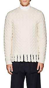 J.W.Anderson Men's Fringed Cable-Knit Sweater - Ivorybone