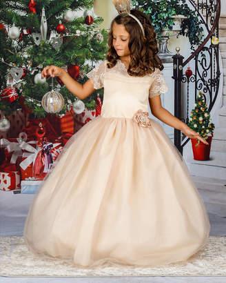 Mia Belle Girls Lace Cap Sleeve Maxi Dress