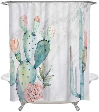Oliver Gal Marble & Succulents Shower Curtain