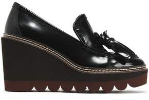 See by Chloe Zina Fringe-trimmed Patent-leather Wedge Loafers
