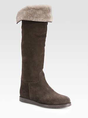 Salvatore Ferragamo Suede Shearling-Lined Knee-High Boots