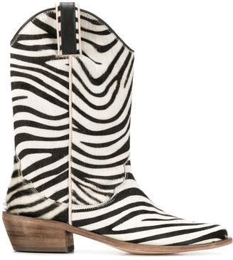 P.A.R.O.S.H. pull-on zebra ankle boots