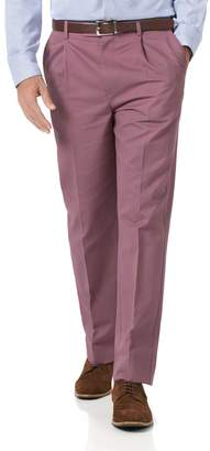 Light Pink Classic Fit Single Pleat Non-Iron Cotton Chino Trousers Size W32 L30