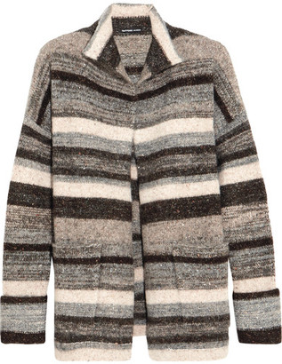 James Perse - Striped Stretch-knit Cardigan - Gray $495 thestylecure.com