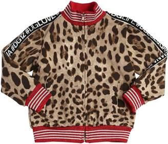 Dolce & Gabbana Leopard Print Zip-Up Cotton Sweatshirt