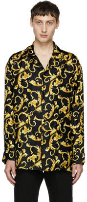 Versace Underwear Black and Gold Printed Pyjama Shirt