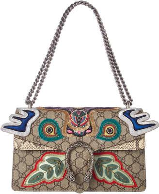 Gucci Dionysus Gg Supreme Canvas & Snakeskin Shoulder Bag