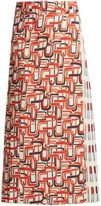 Prada Lipstick and U-print wrap skirt