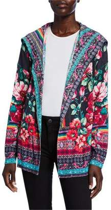 Johnny Was Bethia Printed Cotton/Cashmere Hoodie Cardigan