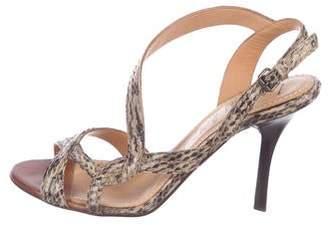Lanvin Embossed Leather Slingback Sandals