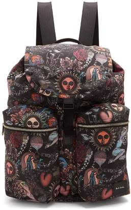 Paul Smith Printed leather-trimmed backpack