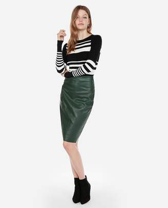 Express Fitted Stripe Crew Neck Sweater