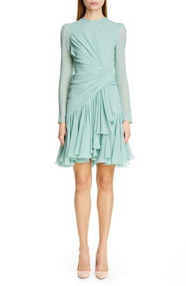 Giambattista Valli Long Sleeve Ruched Ruffle Silk Dress