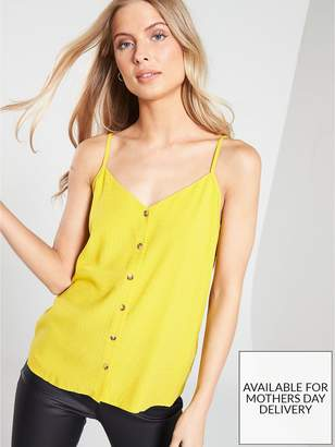 Warehouse Textured Button Front Cami - Yellow