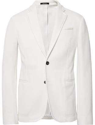 Giorgio Armani White Slim-Fit Grosgrain-Trimmed Waffle-Knit Cotton Blazer