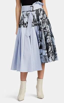 J.W.Anderson Women's Striped Cotton Midi-Skirt - China Blue