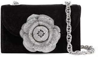 Oscar de la Renta Tro Crystal-embellished Velvet And Suede Shoulder Bag - Black