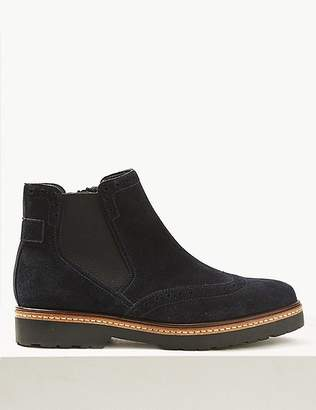 Marks and Spencer Wide Fit Suede Brogue Ankle Boots