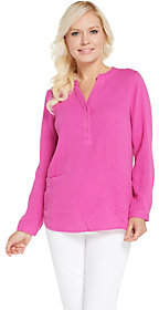 Joan Rivers Classics Collection Joan Rivers Crinkle Texture V-Neck Tunic withPockets