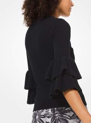 Michael Kors Ruffle-Cuff Cashmere Pullover