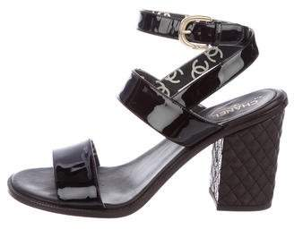 Chanel Patent Leather Wrap-Around Sandals