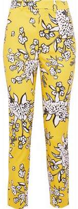 RED Valentino Cropped Floral-Print Cotton-Blend Piqué Skinny Pants