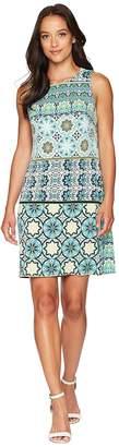 London Times Matte Jersey Fiesta Tile Sleeveless Shift Dress Women's Dress