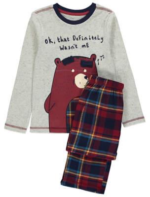 George Light Grey Bear Graphic Pyjamas