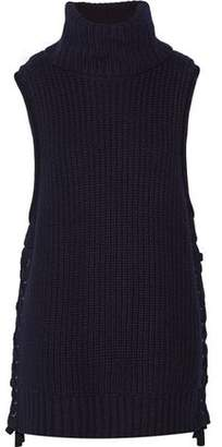 Autumn Cashmere Lace-Up Knitted Turtleneck Sweater