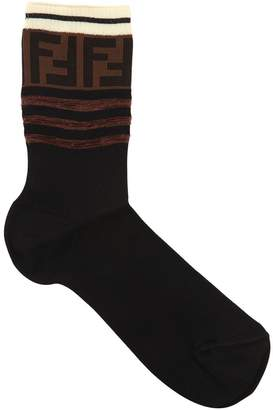 Fendi Logo Intarsia Cotton Socks