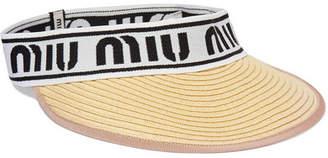 Miu Miu Intarsia-trimmed Woven Straw Visor