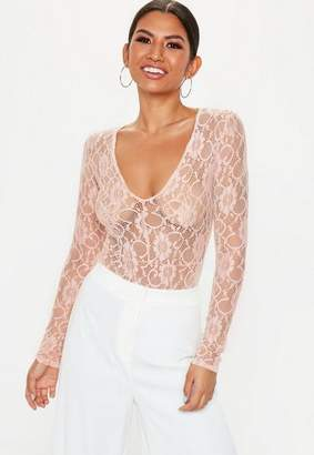Missguided Nude Lace Deep Plunge Long Sleeve Bodysuit