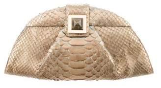 Kara Ross Snakeskin Leather Clutch