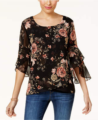 Style&Co. Style & Co Printed Sheer-Sleeve Blouse