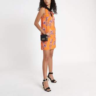 River Island Orange floral bow collar dress