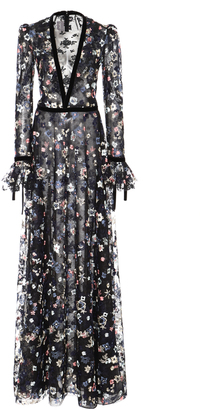 Floral Embroidered Long Sleeve Gown
