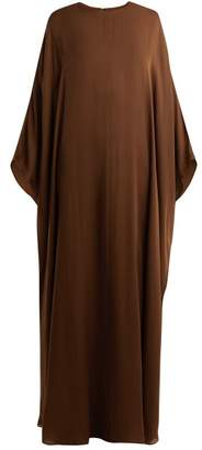 The Row - Narelle Boat Neck Silk Dress - Womens - Brown