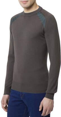 Stefano Ricci Men's Crewneck Wool-Silk Sweater w/ Silk Shoulder Detail