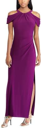 Chaps Women's Pleated Cold-Shoulder Evening Gown