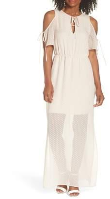 Charles Henry Tie Sleeve Cold Shoulder Maxi Dress (Regular & Petite)