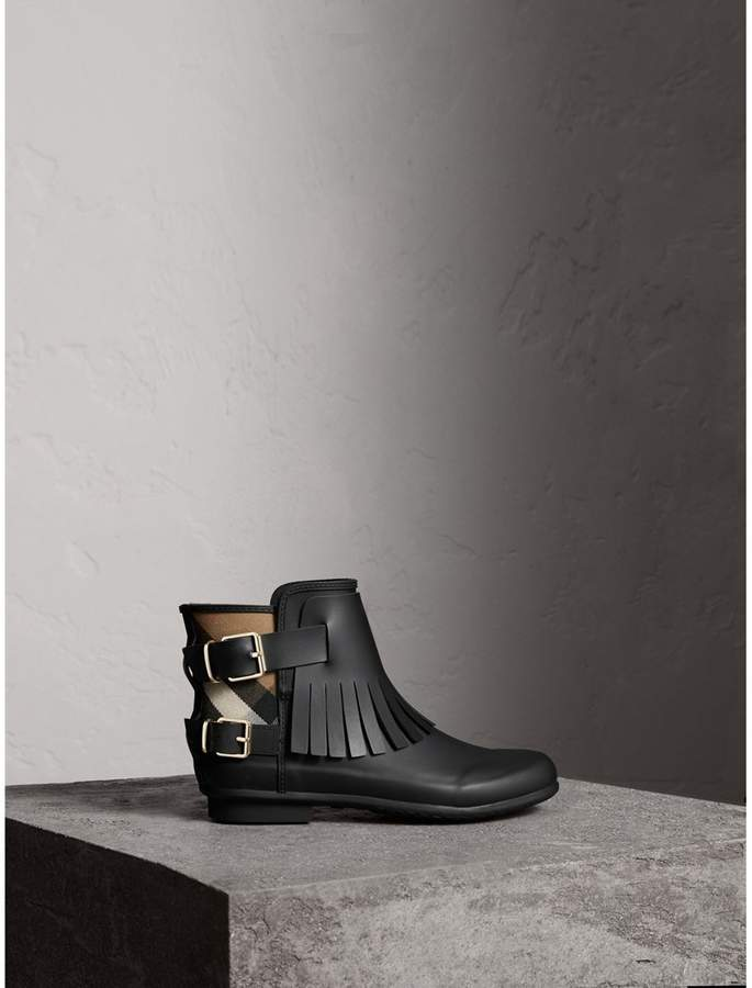 Burberry House Check and Fringed Rubber Rain Boots
