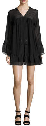 Rachel Zoe Anita Bell-Sleeve Silk Mini Dress, Black