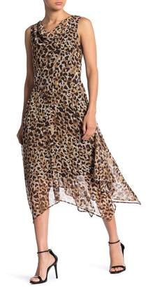 Robbie Bee Leopard Print Chiffon Midi Dress